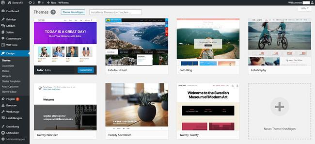 Screenshot: WordPress Themes