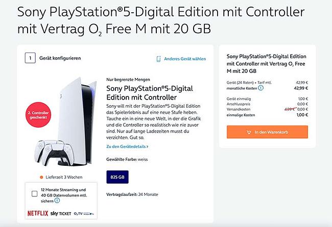 Bundle-Angebot: o2 Free M + Sony Playstation 5 Digital Edition mit zwei Controller