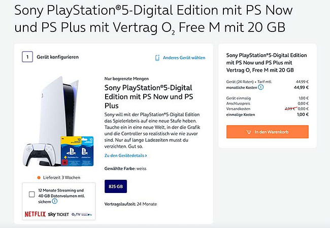 Bundle-Angebot: o2 Free M + Sony Playstation 5-Digital Edition mit PS Now- und PS Plus-Abo