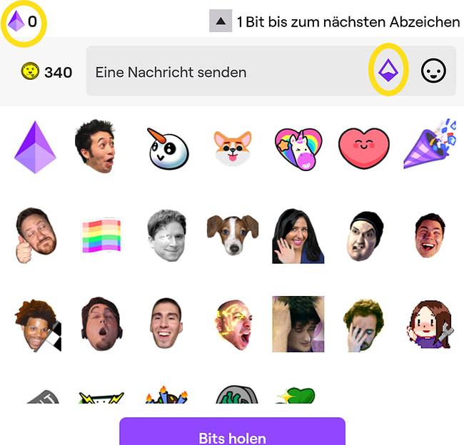 Screenshot Twitch: Beispiel Twitch Bits