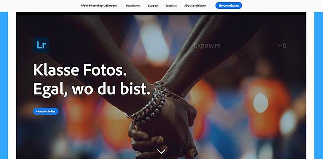 Screenshot: Homepage von Lightroom.