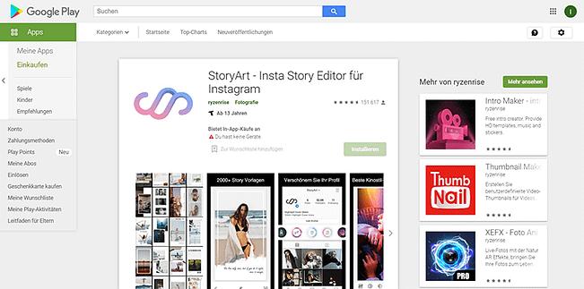 StoryArt im Google Play Store